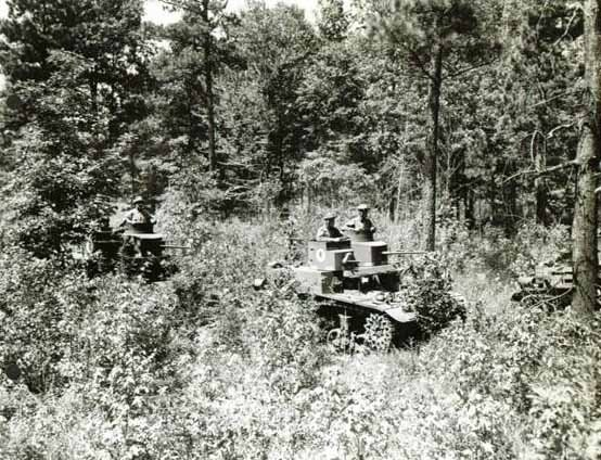 Tanks of the 192nd advance during the Louisiana Maneuvers